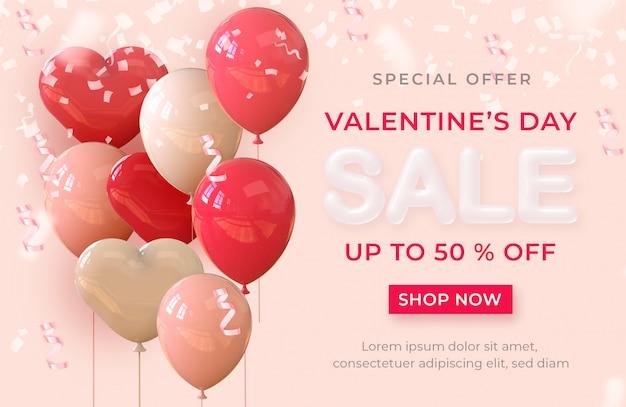 Gelukkige valentijnskaartdag realistische bannerverkoop met 3d teruggevende ballons en harten Premium Psd