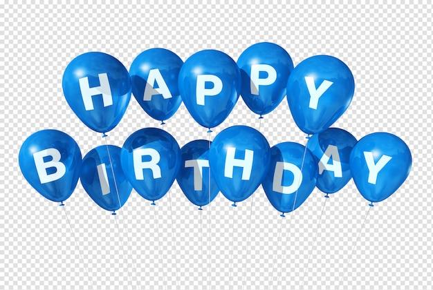 Gelukkige verjaardag blauwe ballonnen Premium Psd