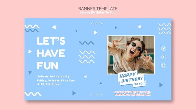 Gelukkige verjaardag concept sjabloon voor spandoek Gratis Psd