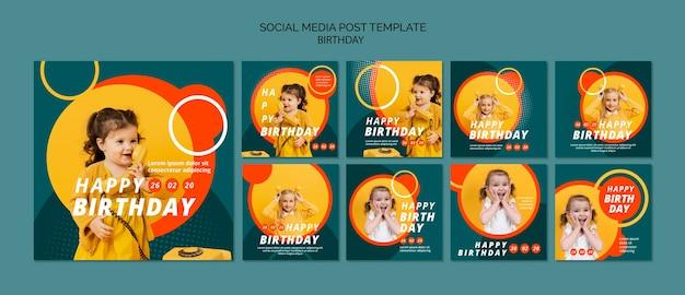 Gelukkige verjaardag concept sjabloon Gratis Psd