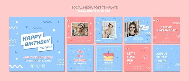 Gelukkige verjaardag concept sociale mediasjabloon Gratis Psd