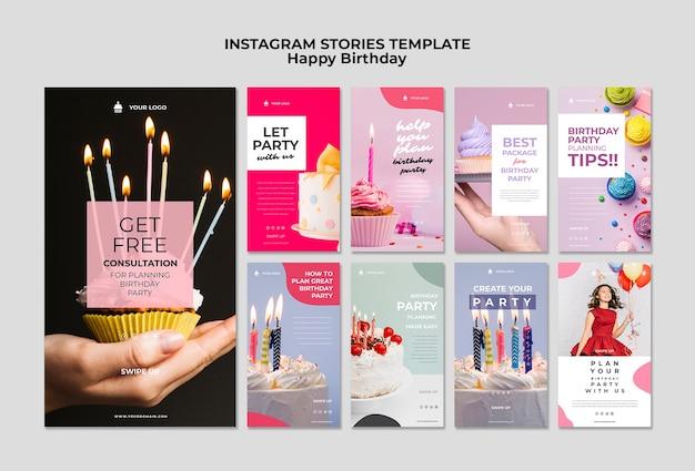 Gelukkige verjaardag met kaarsen en ballonnen instagram sjabloon Gratis Psd