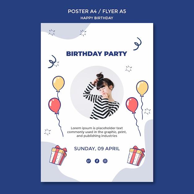 Gelukkige verjaardag poster sjabloon Gratis Psd