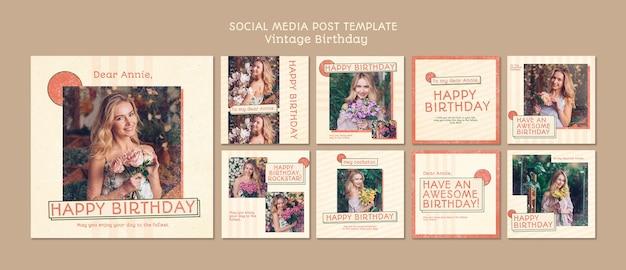 Gelukkige verjaardag social media postsjabloon Gratis Psd