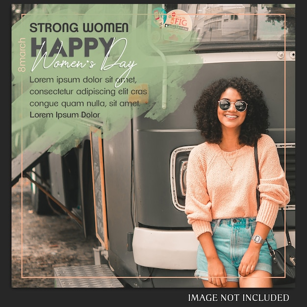 Gelukkige vrouwendag en 8 maart groet instagram postsjabloon Premium Psd