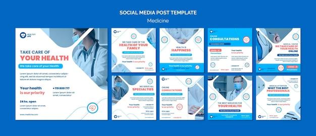 Geneeskunde covid19 preventie social media post Gratis Psd