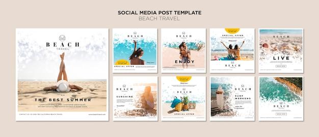 Geniet van de beste sociale mediapost in de zomer Premium Psd