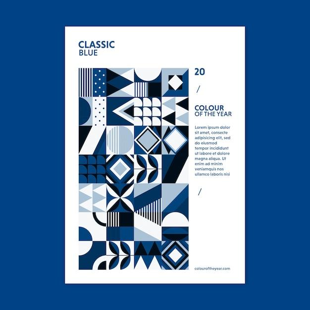 Geometrische poster kleur van het jaar 2020 Gratis Psd