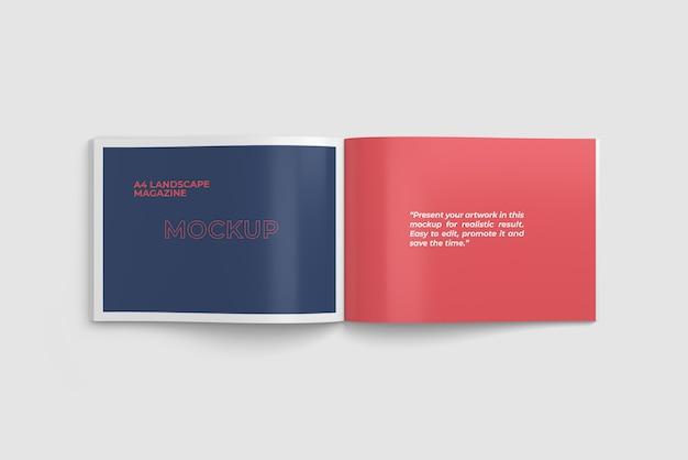 Geopende landschap a4 tijdschrift mockup tophoek weergave Premium Psd