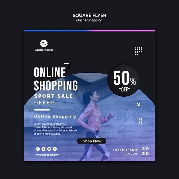 Geruit flyer sjabloon voor online athleisure shopping Gratis Psd
