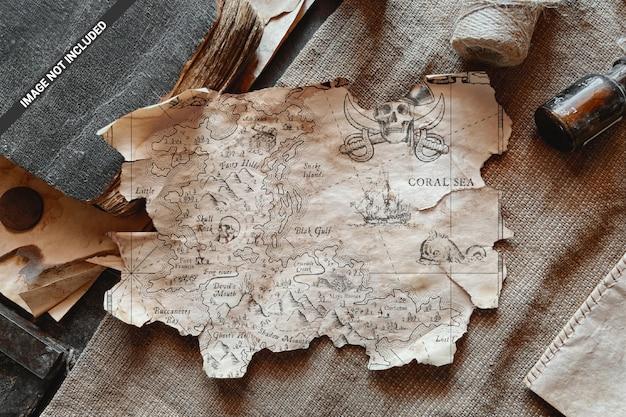 Gescheurd papier blad vintage scène mockup Premium Psd