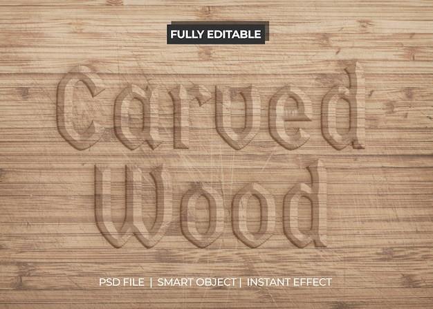 Gesneden houten teksteffect Gratis Psd