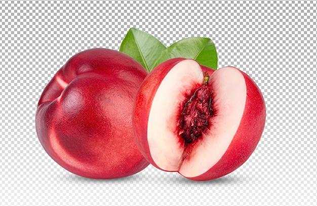 Gesneden rijpe geïsoleerde nectarine Premium Psd