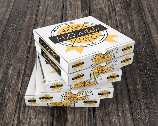 Gestapeld pizzadoosmodel Gratis Psd
