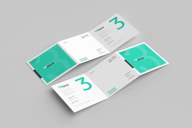 Gevouwen vierkante brochuremodel Premium Psd