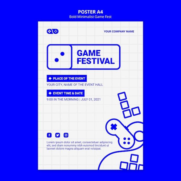 Gewaagde minimalistische game fest fest flyer-sjabloon Gratis Psd