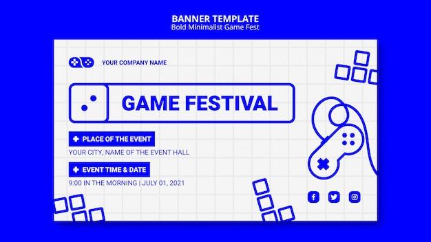 Gewaagde minimalistische game fest fest-sjabloon voor spandoek Gratis Psd