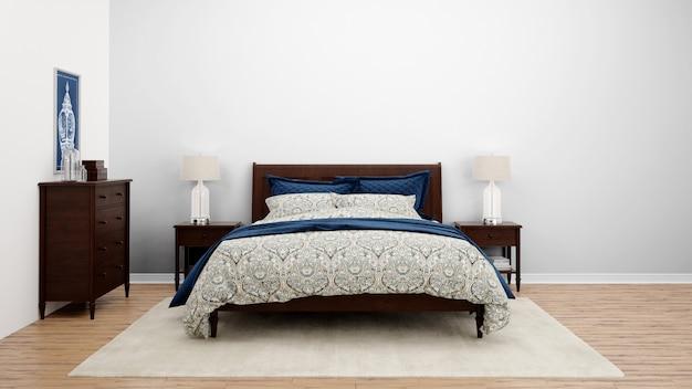 Gezellige slaapkamer of hotelkamer met tweepersoonsbed en houten meubilair Gratis Psd