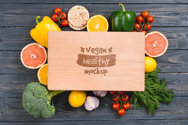 Gezond en vers veganistisch mock-up Gratis Psd