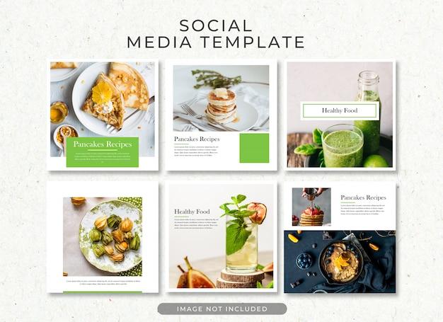 Gezond eten post template verzameling psd Premium Psd