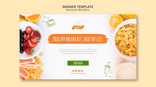 Gezond ontbijt, gezond leven sjabloon voor spandoek Gratis Psd