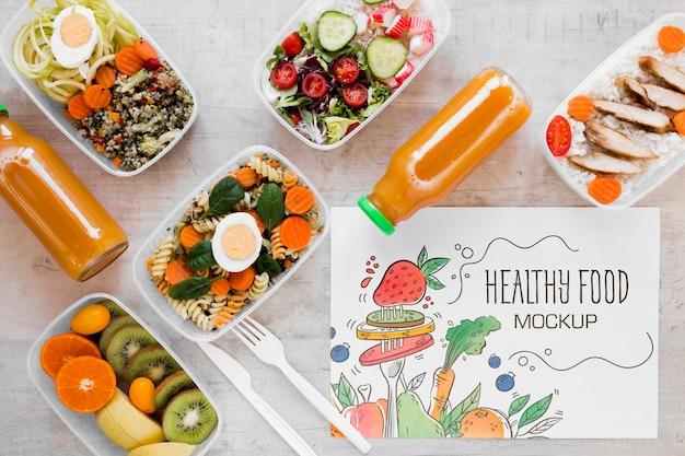 Gezond voedsel mock-up bovenaanzicht Gratis Psd