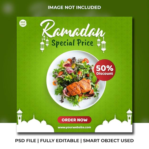 Gezonde kipsalade en veganistisch eten instagram banner Premium Psd
