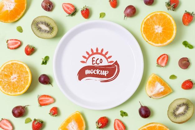 Gezonde voeding mock-up plaat met citrus Gratis Psd