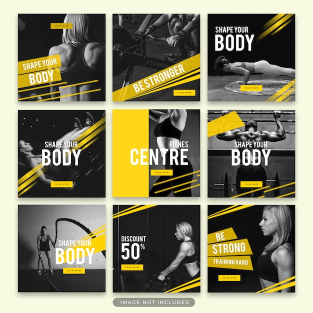 Gimnasio y fitness instagram story y post template collection psd PSD Premium