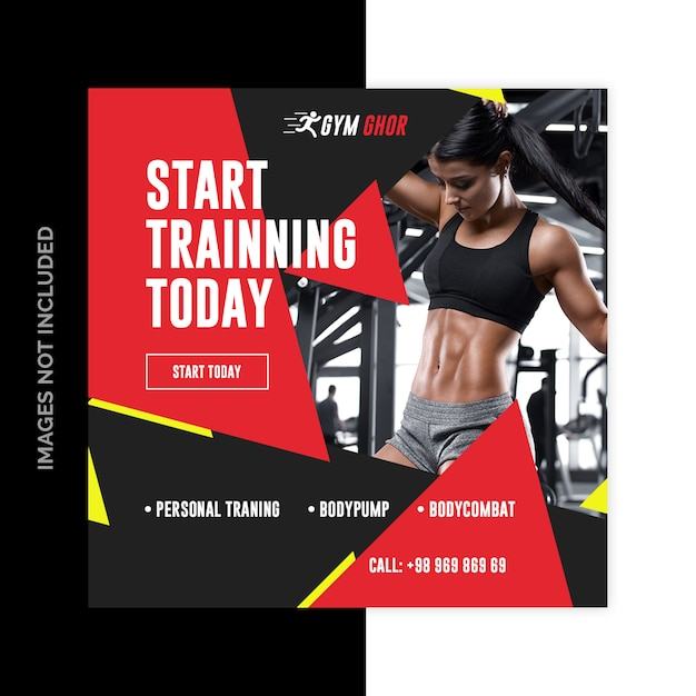 Gimnasio fitness redes sociales web banners PSD Premium