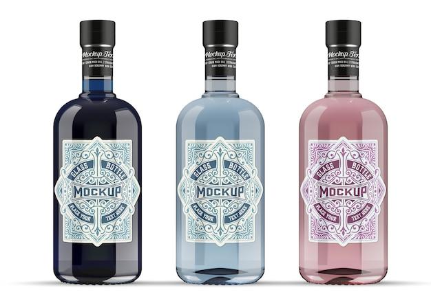 Gin glazen fles mockup geïsoleerd Premium Psd