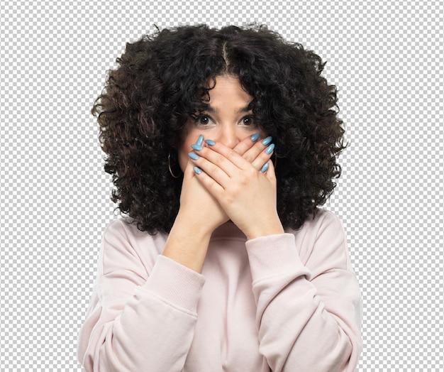 Giovane donna che copre la bocca Psd Premium