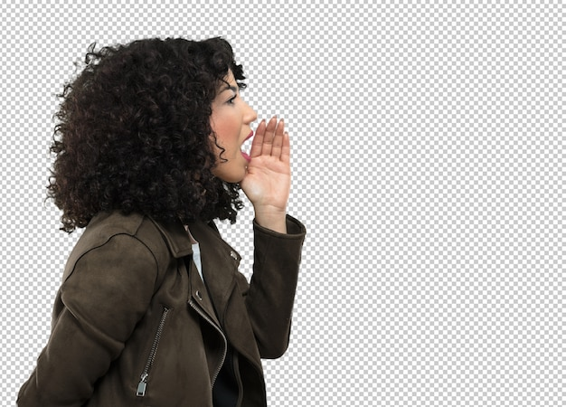 Giovane donna che grida da parte Psd Premium