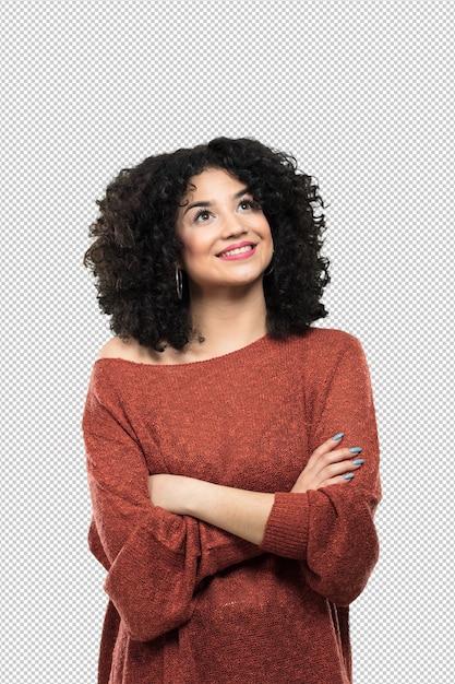Giovane donna che osserva in su Psd Premium