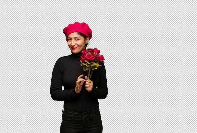 Giovane donna in giorno di san valentino che escogita un piano Psd Premium