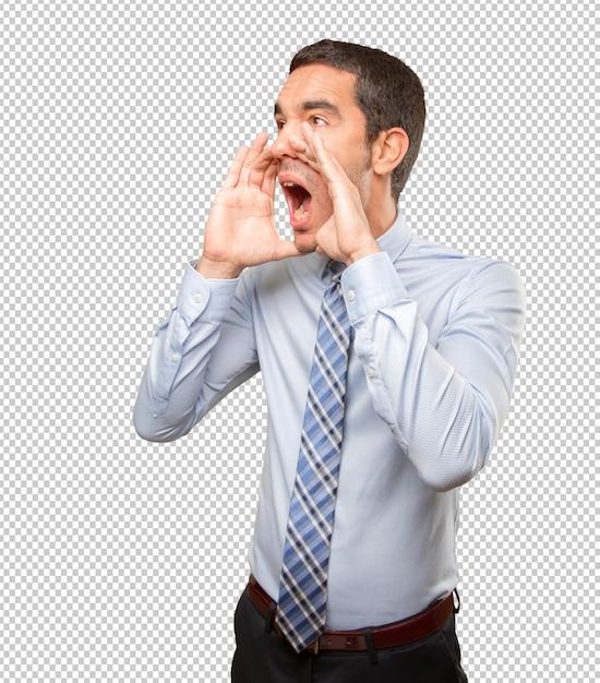 Giovane imprenditore gridando Psd Premium