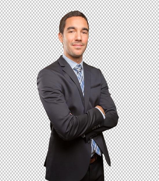 Giovane posa soddisfatta dell'uomo d'affari Psd Premium