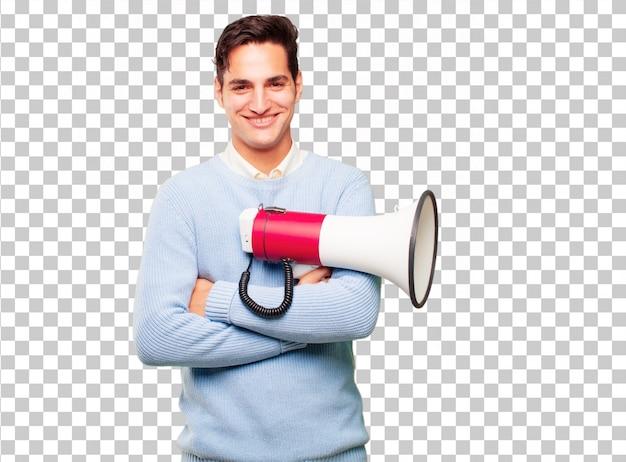 Giovane uomo abbronzato bello con un megafono Psd Premium