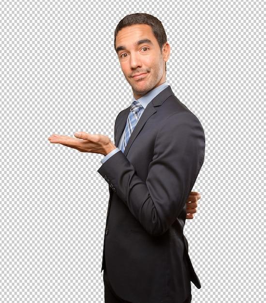 Giovane uomo d'affari felice che mostra gesto Psd Premium