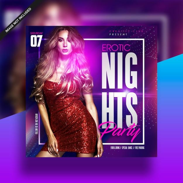 Girl nights club feestmuziek flyer Premium Psd