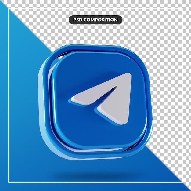 Glanzend telegram logo geïsoleerd 3d-ontwerp Premium Psd