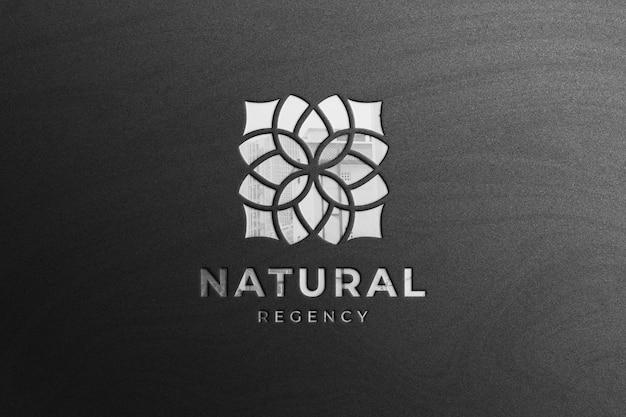 Glanzend zilver bedrijfslogo mockup met reflectie Premium Psd