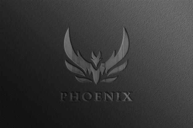 Glanzend zwart bedrijfslogo mockup met reflectie Premium Psd