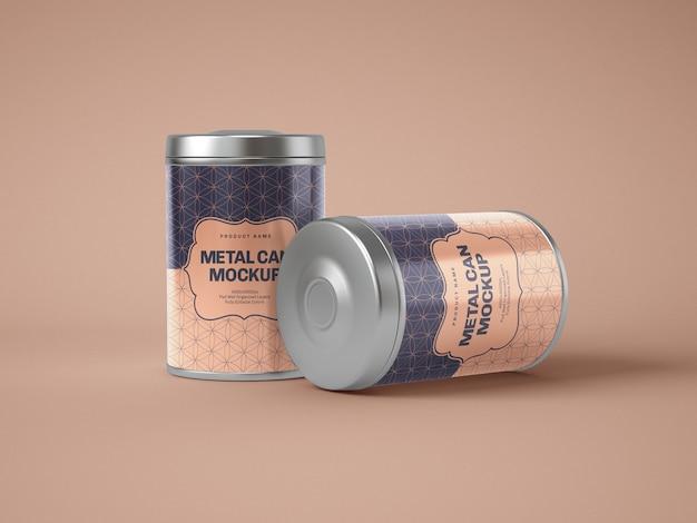 Glanzende metalen blikken doos mockup Premium Psd