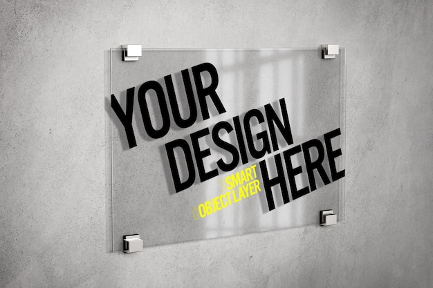 Glass sign on wall mockup Psd Premium