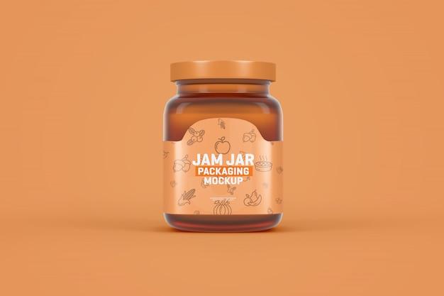 Glazen jampot verpakking mockup Premium Psd