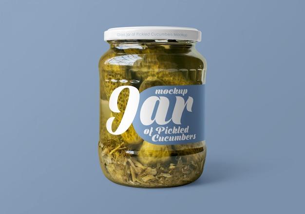 Glazen pot met gepekelde komkommers mockup Premium Psd
