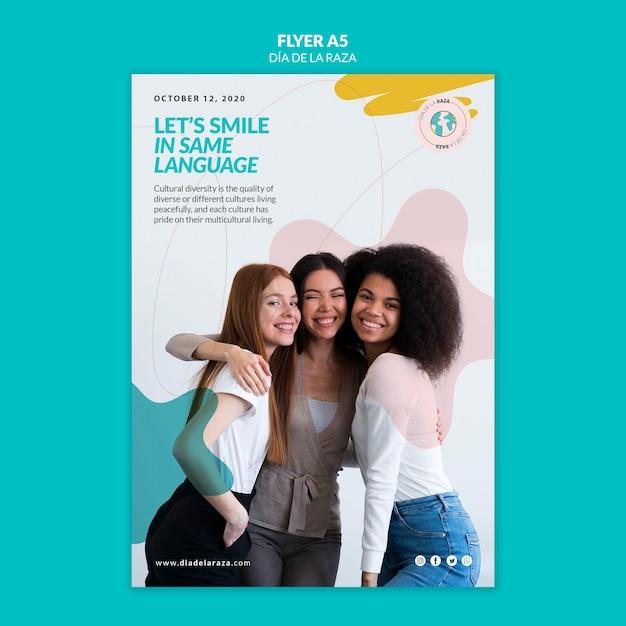 Glimlach in dezelfde taal flyer-sjabloon Gratis Psd