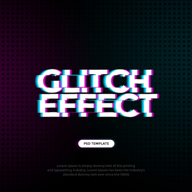 Glitch text effect template Psd Premium