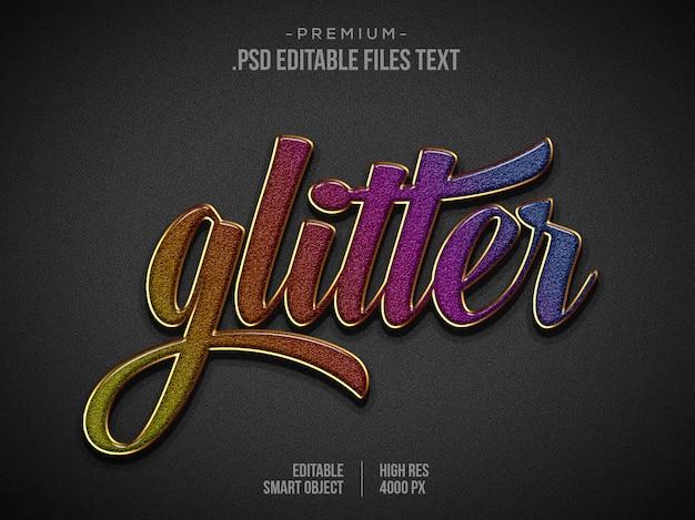 Glitter gouden teksteffect psd, elegant abstract mooi teksteffect instellen, 3d-tekststijl Premium Psd